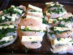 SPLENDID LOW-CARBING          BY JENNIFER ELOFF: HASSELBACK CHICKEN WITH SPINACH, BACON AND MONTERE...