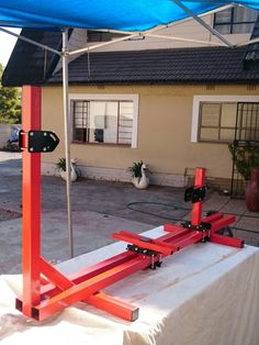 Spray painted my frame jig to fit in with the rest of the workshop equipment.