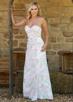 Bridesmaid Dresses Floral Print, Floral Chiffon, Bridesmaids, Strapless Dress, Floral Prints, Fashion, Strapless Gown, Floral Patterns, Moda