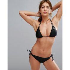 adidas Originals Black Triangle Bikini Set (36 CAD) ❤ liked on Polyvore featuring swimwear, bikinis, black, triangle bikinis, swim bikini, triangle swimwear, halterneck bikinis and swim wear