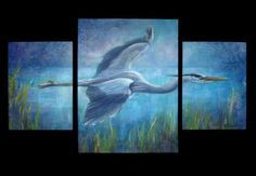 Bird Art  Heron at Dusk by NewChapterArts on Etsy
