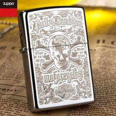 Zippo Windproof Harley Davidson With Skull Logo Lighter