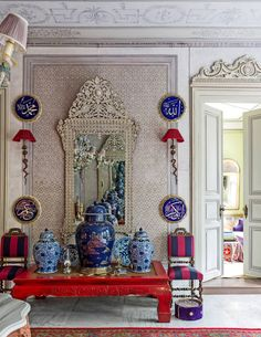 Entry hall with its hand-painted ceilings in a home in Istanbul.