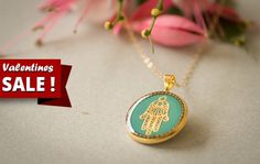 Valentines Day SALE! 10% off on every item at the store!  +FREE fast shipping for every order over 100$ with the coupon code: FREEOVER100    Jewish jewelry, hamsa necklace, kabbalah necklace, gold hamsa hand, resin jewelry, hand of fatima, gift under 50 gift for her  _________________________________________________________________________________________    Hamsa necklace with Gold Filled long necklace& hamsa pendant 18K gold-plated, round pendant  has a gold -lace hamsa centered in the…