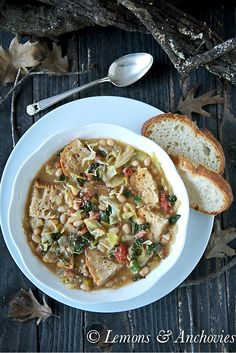 French Delicacies Essentials - Some Uncomplicated Strategies For Newbies Ribollita Rustic Tuscan Soup Via Jean Pope Lemons and Anchovies Chili Recipes, Soup Recipes, Cooking Recipes, Healthy Recipes, Bowl Of Soup, Soup And Salad, Tuscan Soup, Soup And Sandwich, Soups And Stews