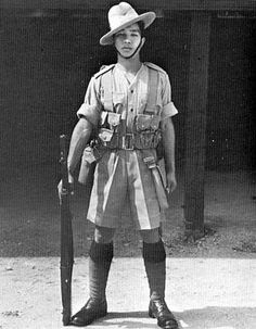 A Sepoy of the Burma Rifles - a regiment of the British Indian Army - in battle order. Circa, Summer of 1941