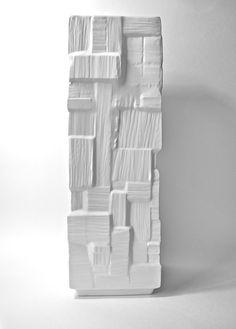Huge Modernist Matte White Porcelain Art Vase Henrich Germany