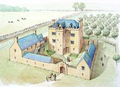 Paint the Past Archaeological and Historical Reconstruction and Illustration Prehistoric Sites Fantasy Castle, Fantasy Map, Fantasy Places, Fantasy World, Medieval World, Medieval Town, Medieval Castle, Medieval Fantasy, Castle House