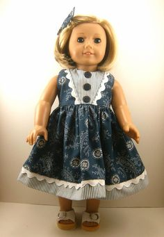 Fits American Girl Doll Clothes 18 Inch Navy and White Paisley Sleeveless Dress with Matching Hair Bow