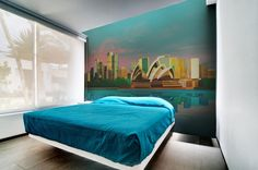 1598_0 City, Bed, Wall, Furniture, Home Decor, Pictures, Photo Wallpaper, Wallpapers, Homemade Home Decor