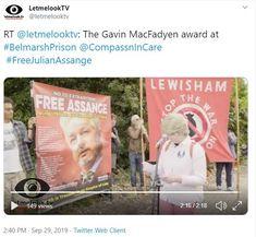 2019 Sep 28: VIDEO Presentation of Gavin MacFayden Award to Julian Assange Twitter Web, Prison, Empire, Awards, Presentation, Articles, Free