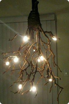DIY Tree branch chandelier ideas | Branch chandelier, Chandeliers ...