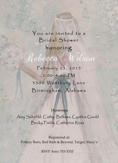 Custom bridal shower invitation hand made  by JaneLazenbyartist, $50.00
