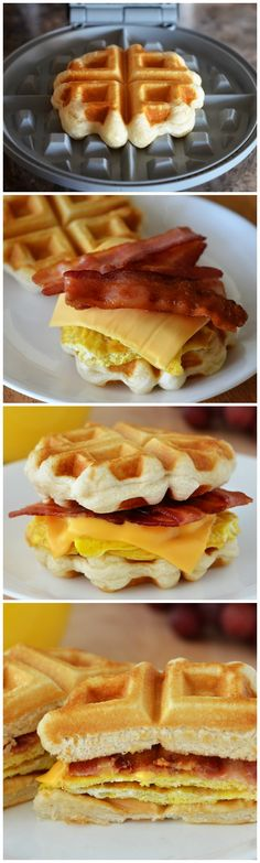 Grab-and-Go Waffle Breakfast Sandwiches! Such a good idea! Make with low carb waffles instead. Breakfast Sandwich Maker, Breakfast And Brunch, Breakfast Waffles, Breakfast Dishes, Breakfast Biscuits, Waffle Sandwich, Yummy Breakfast Ideas, Mexican Breakfast, Best Breakfast Recipes