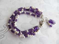 Multi Strand Gemstone Bracelet Amethyst and Pearl by tuscanroad