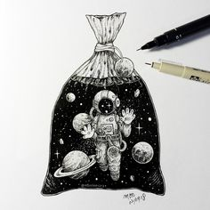Little man have been trapped in plastic bag like marine animals. - Little man have been trapped in plastic bag like marine animals. Space Drawings, Cool Drawings, Drawing Sketches, Tattoo Drawings, Pencil Drawings, Astronaut Drawing, Astronaut Tattoo, 3d Artwork, Fantasy Artwork