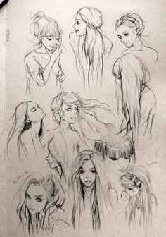 Hair study drawings