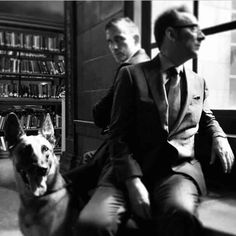Jim Caviezel Micheal Emerson and Bear. Source: Chris Fisher