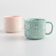 Blush and Icy Blue Jolly Hearts Mugs Set of 2