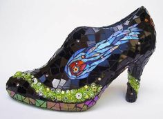 shoes, slipper, glasses, mosaics, stain glass, glass shoe, stained glass, mosaic art, mosaic shoe
