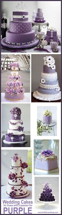 {Great collage of beautiful Purple Cakes found on FindItforWeddings} This months favorite purple wedding cakes « FindItforWeddings Purple Cakes, Purple Wedding Cakes, Beautiful Wedding Cakes, Beautiful Cakes, Wedding Colors, Dream Wedding, Wedding Day, Gold Wedding, Floral Wedding