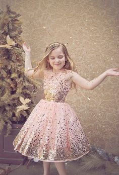 Holiday Gloria Glitter Dress<br>4 to 16 Years<BR>Now in Stock!