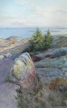"""Sentinels in Acadia"" by Karen McManus.  8"" x 5"" Watercolor.  Available at Maine Art Paintings & Sculpture."