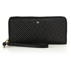 Tory Burch Robinson Stitched Leather Wristlet Wallet ($260) ❤ liked on Polyvore featuring bags, wallets, apparel & accessories, black, tory burch wristlet, leather wristlet wallet, zip wallet, leather wristlet and genuine leather wallet