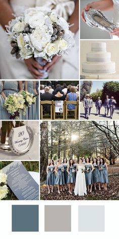 Neutral wedding scheme with muted blue accents. You could easily add mint to the scheme as well. I like the ivory and gray cuz it pulls from the aspen tree bark