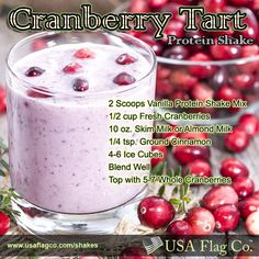 Cranberries are the fruit of a native plant of North America and we hope you enjoy this healthy and nutritious Cranberry Tart Protein Shake recipe today.