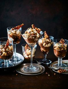 Sophisticated and decadent, these chocolate espresso martini trifles are the perfect get-ahead pudding for a dinner party Best Dinner Party Recipes, Dinner Party Desserts, Bbc Good Food Recipes, Sweet Recipes, Cooking Recipes, Chef Recipes, Just Desserts, Delicious Desserts, Yummy Food