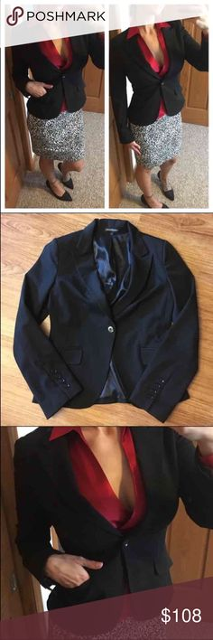 "Express like new black blazer with pockets 📦Same day shipping (excluding Sun/holidays or orders placed after P.O. Closed) ❤️Save on shipping: Add all of your ""likes"" to a bundle and submit an offer  This gorgeous blazer is like new. I am between a size 6 & 8 so I thought I could get away with a 6 but I'm a bit too busty. Last photo: my measurements. Flat measurements: 18"" across chest and 22"" long. Lining is 100% polyester, outer layer is 61% polyester 34% rayon and 5% spandex. Front…"