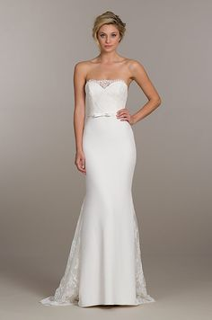 Ivory lace and crepe trumpet bridal gown, sweetheart corset bodice ...
