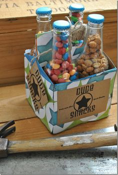 dude snacks. I think this will be a cute idea for birthday parties.