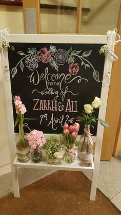 Vintage wedding welcome blackboard