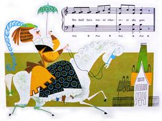 """""""Ride a cockhorse to Banbury Cross."""" From 'My First Sing-A-Song Book,' Wonderful illustrations by Mary Blair. Mary Blair, Vintage Artwork, Vintage Children's Books, Glenn Arthur, Disney Artists, Children's Book Illustration, Book Illustrations, Vintage Disney, Cute Art"""