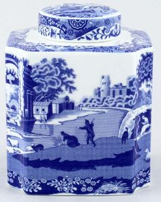 Timeless Classic Spode Italian!  Spode Italian Tea Caddy with clear details of the basic elements of the pattern. Follow rickysturn/fine-china