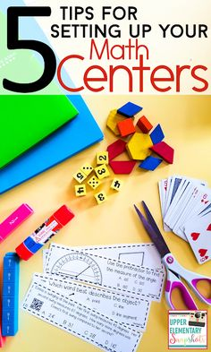Math Centers can be a challenge, but they don' Here are 5 helpful tips and ideas for setting up your math centers for back to school! Grab the math game FREEBIES! Math Classroom, Kindergarten Math, Teaching Math, Teaching Ideas, Classroom Ideas, Classroom Projects, Creative Teaching, Math Teacher, Google Classroom