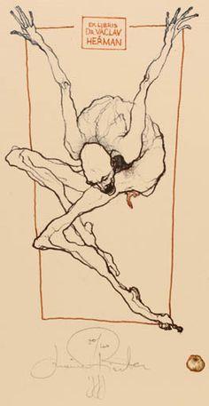 Art-exlibris.net - Bookplate by Marina Richter for Dr. Vaclav Herman, (1999) : Klaus Rödel (cassette: 66 No. 13)