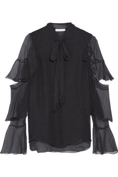 Chloé | Pussy-bow ruffled silk-mousseline blouse | NET-A-PORTER.COM