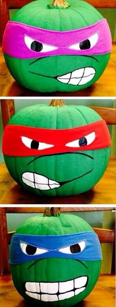 painted pumpkins Here are some no-carve pumpkin ideas that kids will love! Instead of making a big mess, just get out your paints to decorate this Halloween! Ninja Turtle Party, Ninja Turtle Pumpkin, Ninja Turtle Birthday, Ninja Turtles, Holidays Halloween, Halloween Crafts, Halloween Decorations, Outdoor Decorations, Couple Halloween