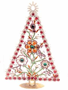 details about x large vintage czech free standing glass rhinestone christmas tree ornament - Free Standing Christmas Decorations