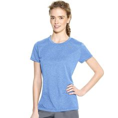 Women's Champion PowerTrain Heather Performance Tee, Med Blue
