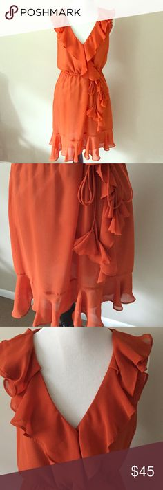 "Ark & Co Orange Crepe Faux Wrap Dress Beautiful and worn once! Bought at a pricey store on the main drag in Greenwich, CT. Fully lined and hits a few inches above the knee, although I am just 5'1"" - if you want exact measurements then let me know! Nice snap sewn in at busy for optional modesty :) Ark & Co Dresses"