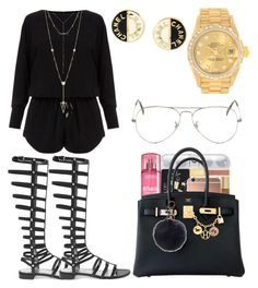 """Never Compare Me To A Average"" by kodak-miyaaaa ❤ liked on Polyvore featuring Helmut Lang, Stuart Weitzman, Mura, Hermès, House of Harlow 1960, Rolex, Chanel, Ray-Ban, DayToNight and romper"