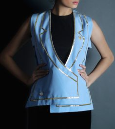 Ice Blue Pure Crepe Embroidered Cutout Blazer