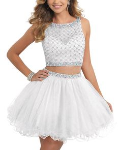 """Promworld Women's Two Pieces Short Beaded Organza Prom Dress Party Dress White US16. This dress is Made-To-Order. In order to make the most suitable dress, please measure yourself as the """"how to measure"""" Image, use the Size Chart Image on the left and send us the detailed measurements. The shooting light and setting of your computer screen may cause slight color mismatches. All products are subject to material objects. Please check carefully at the size chart and measuring guide on the…"""