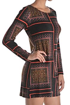 This great geometric pattern sweater dress is bright and cheery for the upcoming holiday season. Pairs well with leggings or can be dressed up with pantyhose and your favorite pumps. Dress up with colored rhinestones and you are set for a holiday party or night out.   Geometric Color Dress  by Aryeh. Clothing - Dresses - Printed Clothing - Dresses - Long Sleeve Illinois