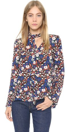 Derek Lam 10 Crosby Longsleeve Floral Ruffle Shirt | SHOPBOP