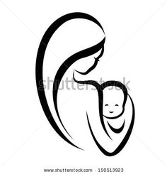 woman and baby, isolated vector symbol - stock vector